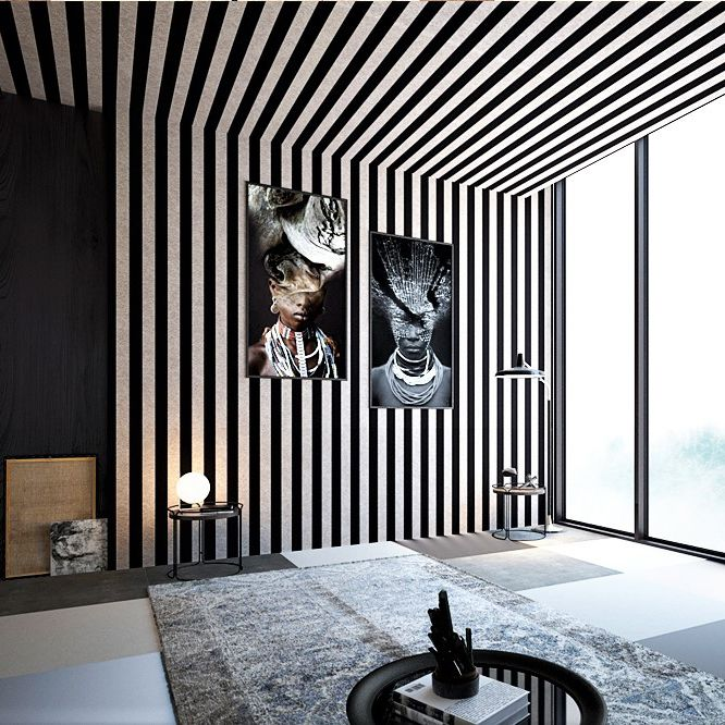 Black and white ceiling and wall harmony