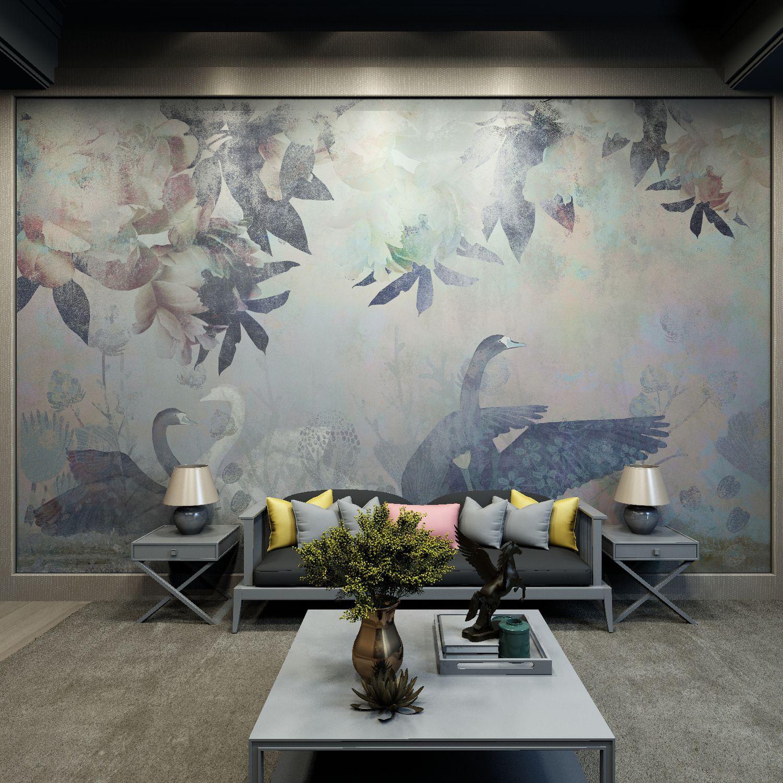 Contemporary Wallpaper Nonwoven Fabric Silk Polyester