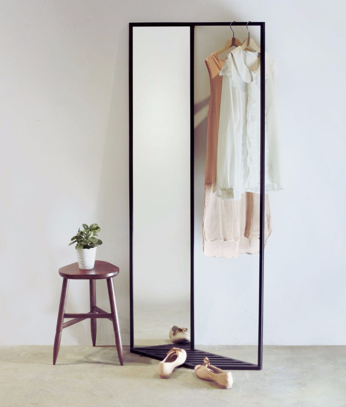 Floor Standing Mirror With Storage Compartment Contemporary Rectangular Side