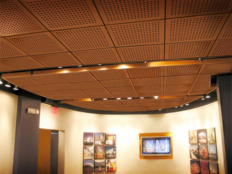 Wooden Suspended Ceiling Panel Decorative Perforated