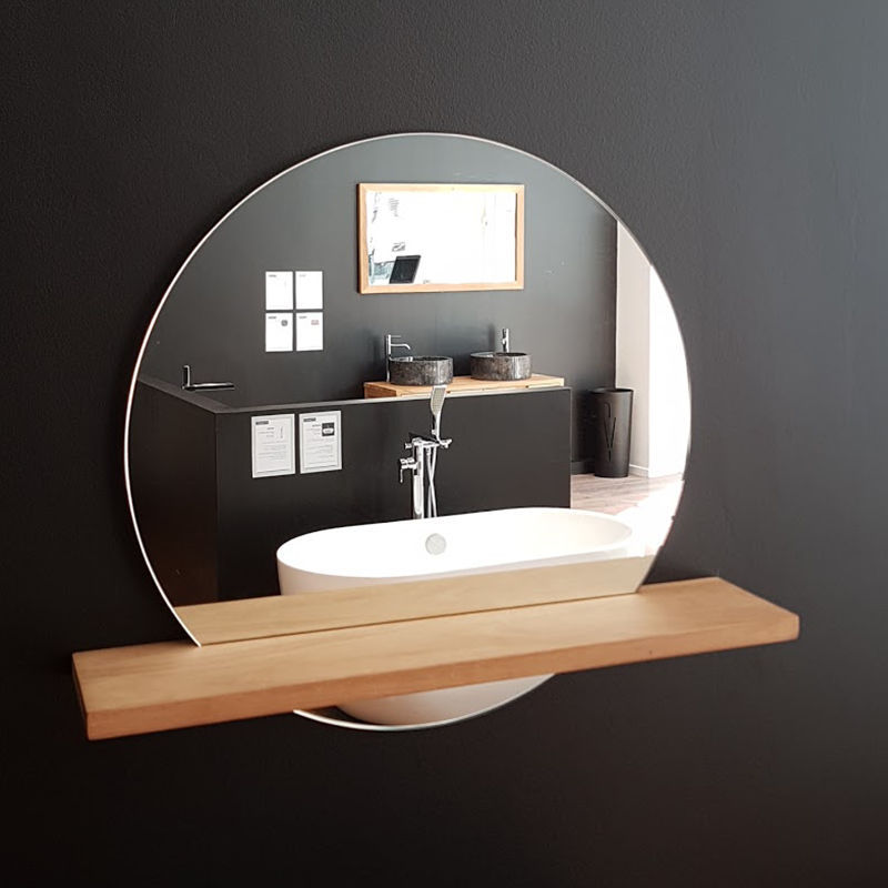 Wall Mounted Bathroom Mirror Bali Stano With Shelf Contemporary Round