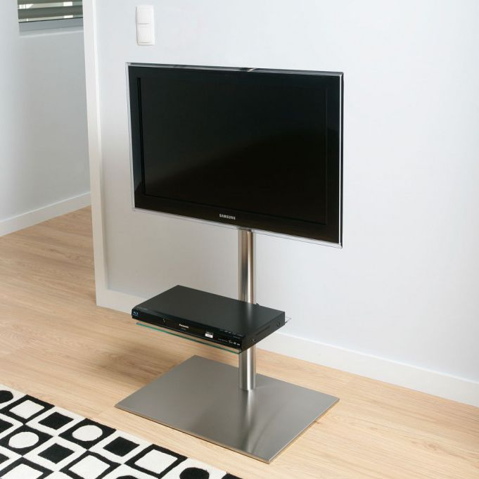 Contemporary Tv Stand With Dvd Player Shelf Swivel Stainless Steel Disco K6 Bi