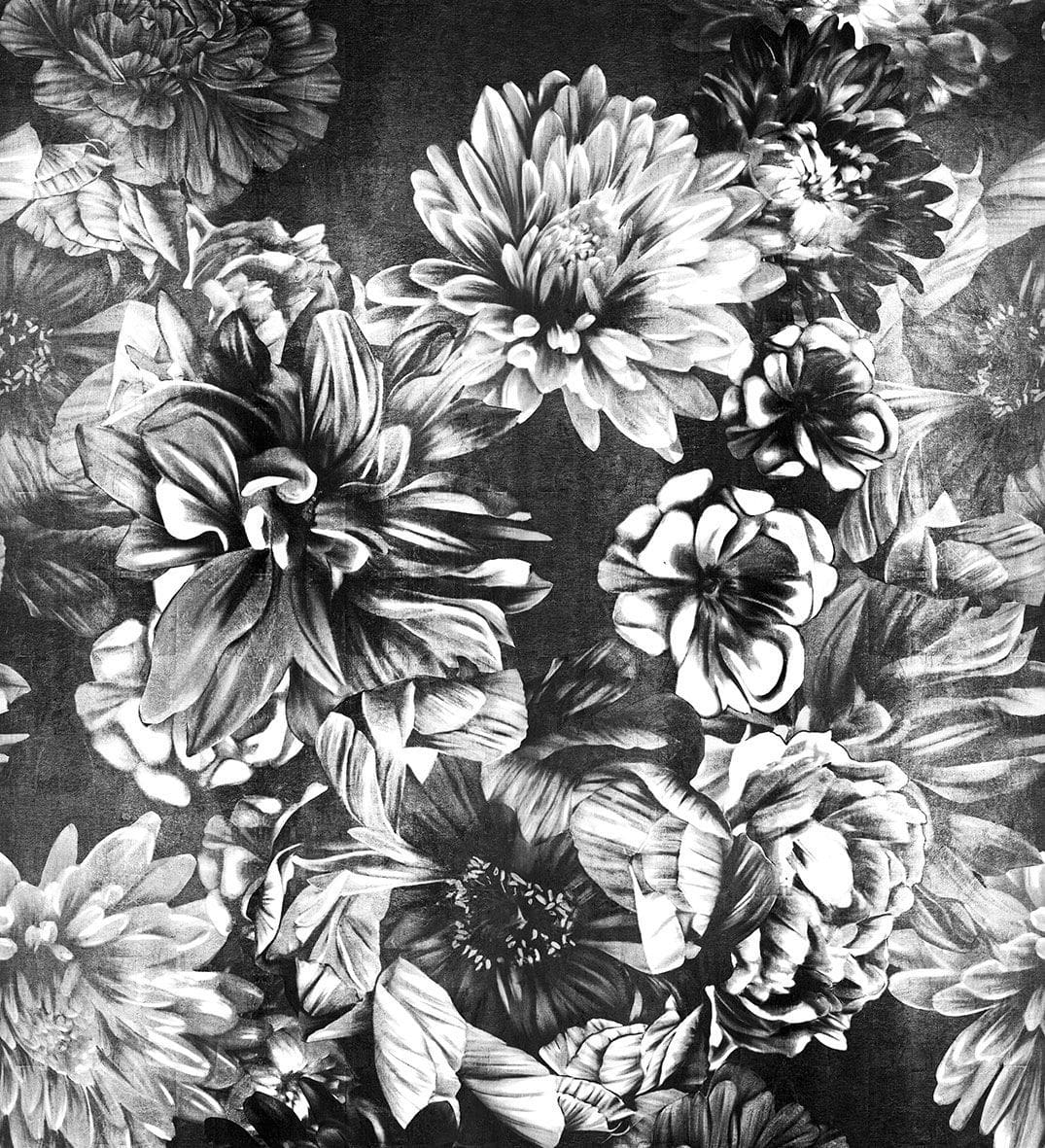Contemporary Wallpaper Fabric Floral Handmade Dark Floral