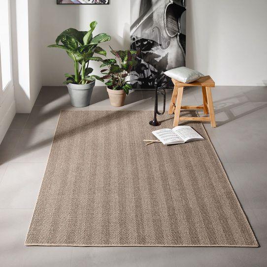 Woven rug / contemporary / striped
