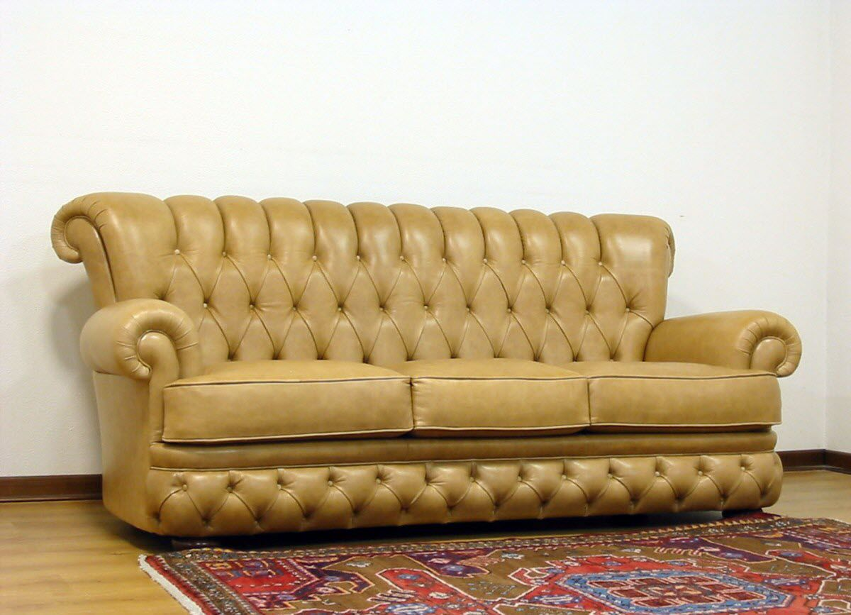 Chesterfield Sofa Fabric Leather 2 Person Doge