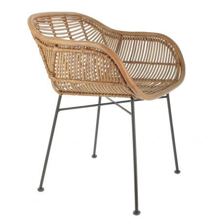 Contemporary Chair With Armrests Rattan Wrought Iron Vintage 001093