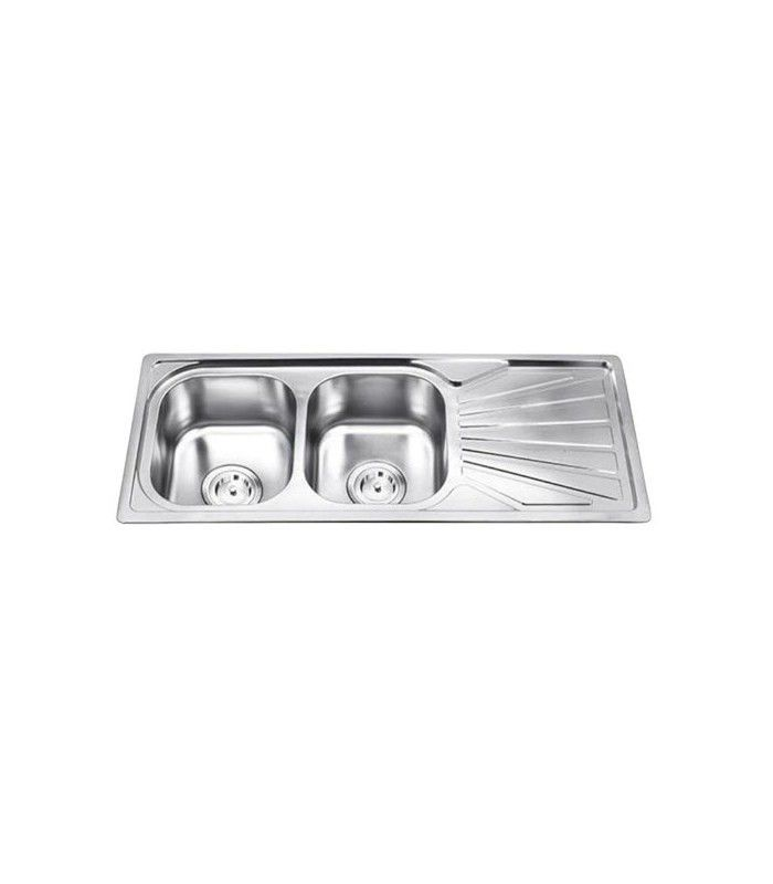 Double Kitchen Sink Stainless Steel With Drainboard Edese 120