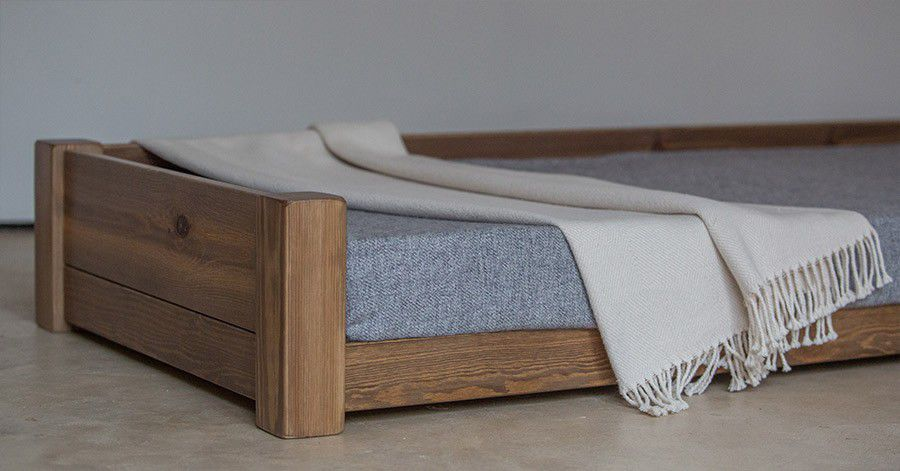 Pet Dog Bed Oak Solid Wood Walnut