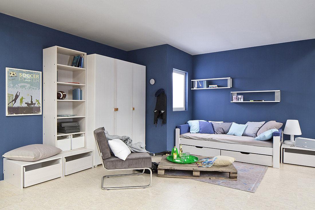 White children\'s bedroom furniture set / blue / boy\'s - DEBE ...