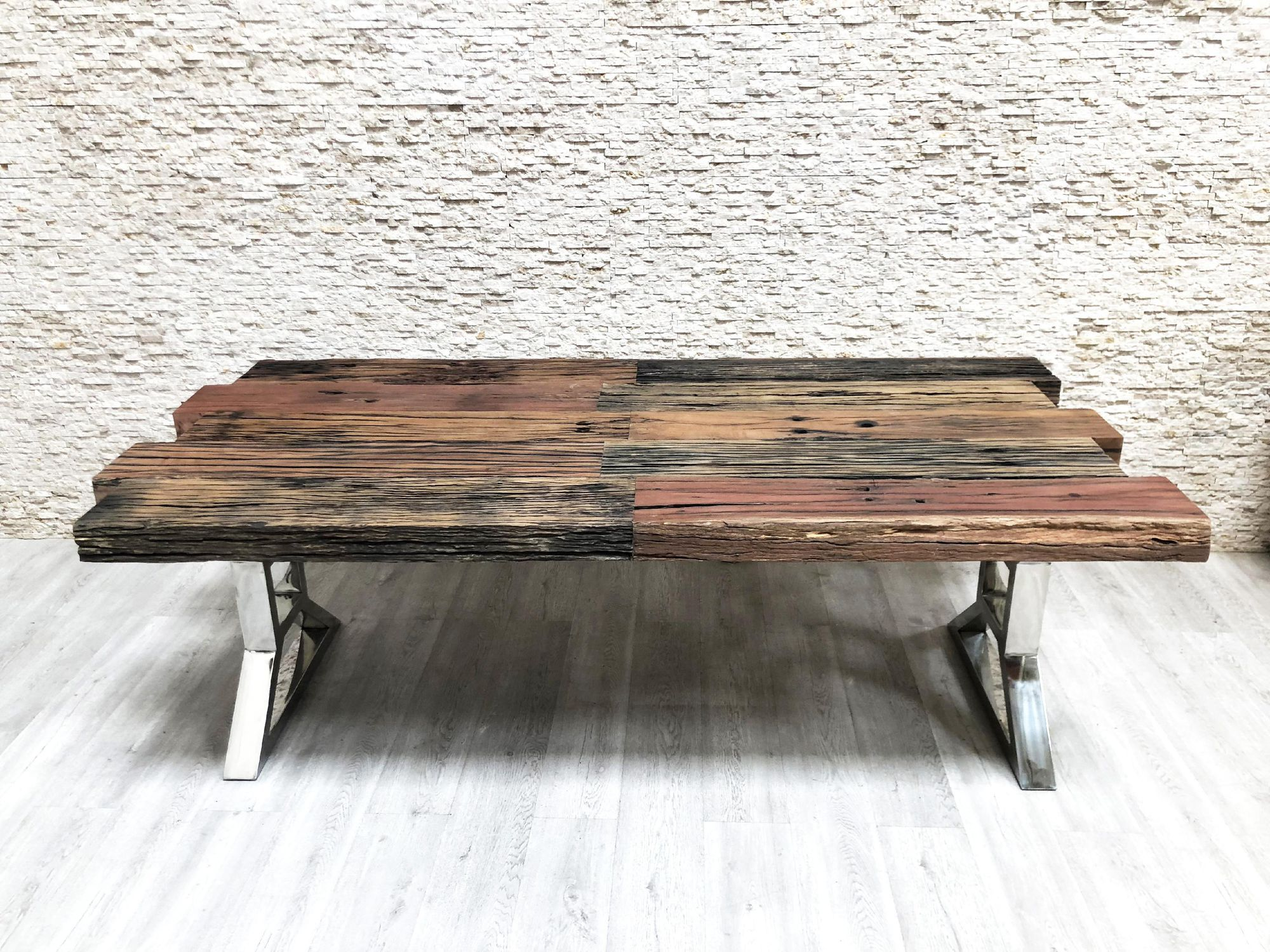 Industrial Style Dining Table Solid Wood Metal Base Rectangular