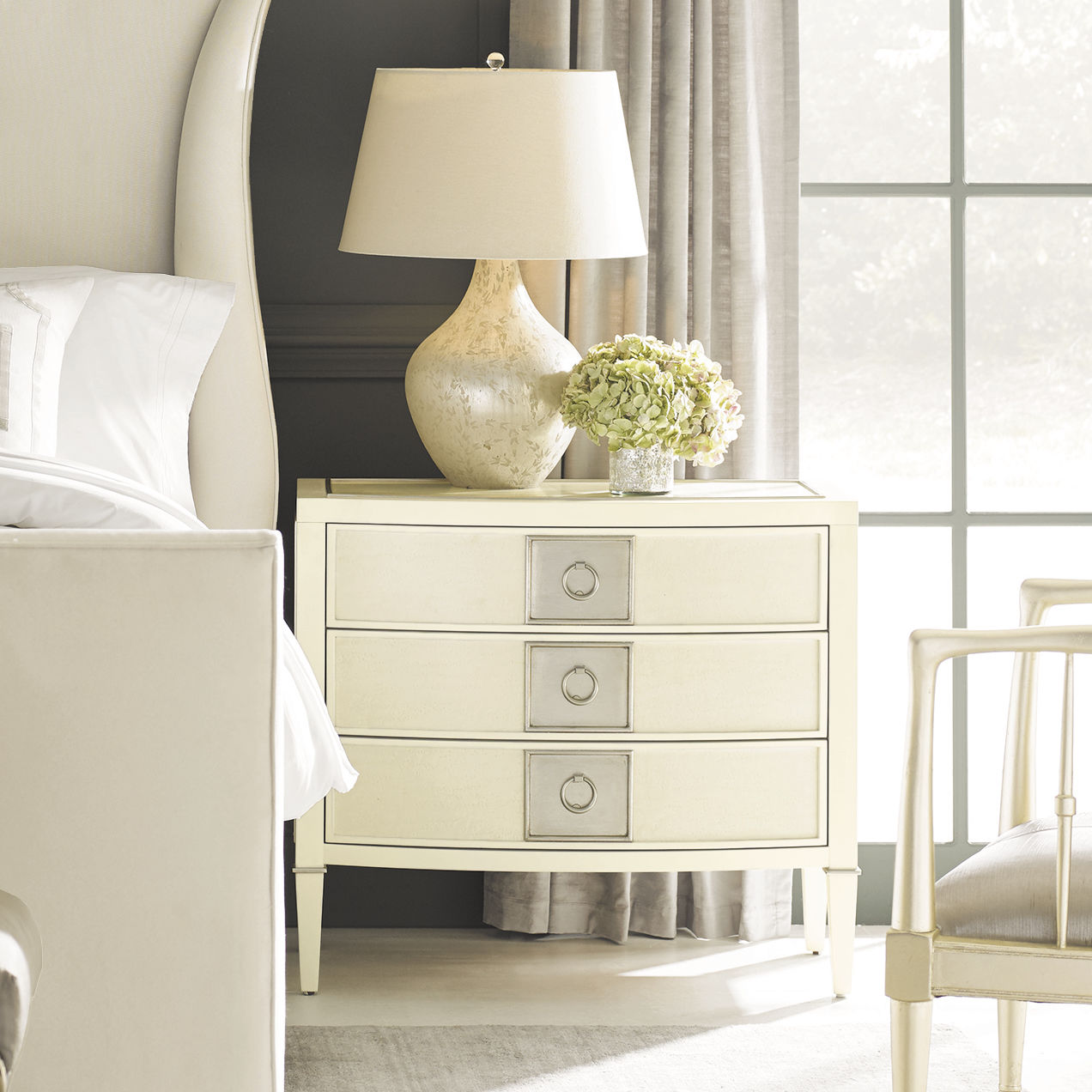 Traditional Bedside Table Maple Metal Maple Base