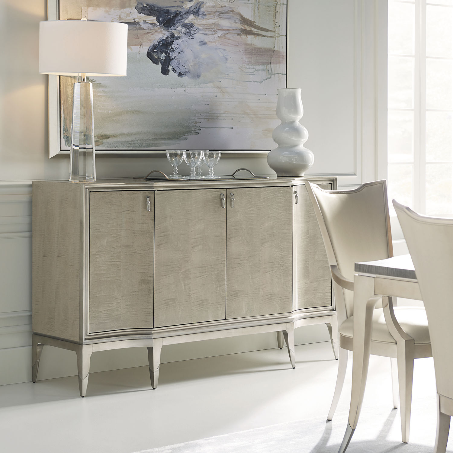 Traditional Sideboard Wooden Chromed Metal With Shelf Caracole Classic May I Serve You Caracole