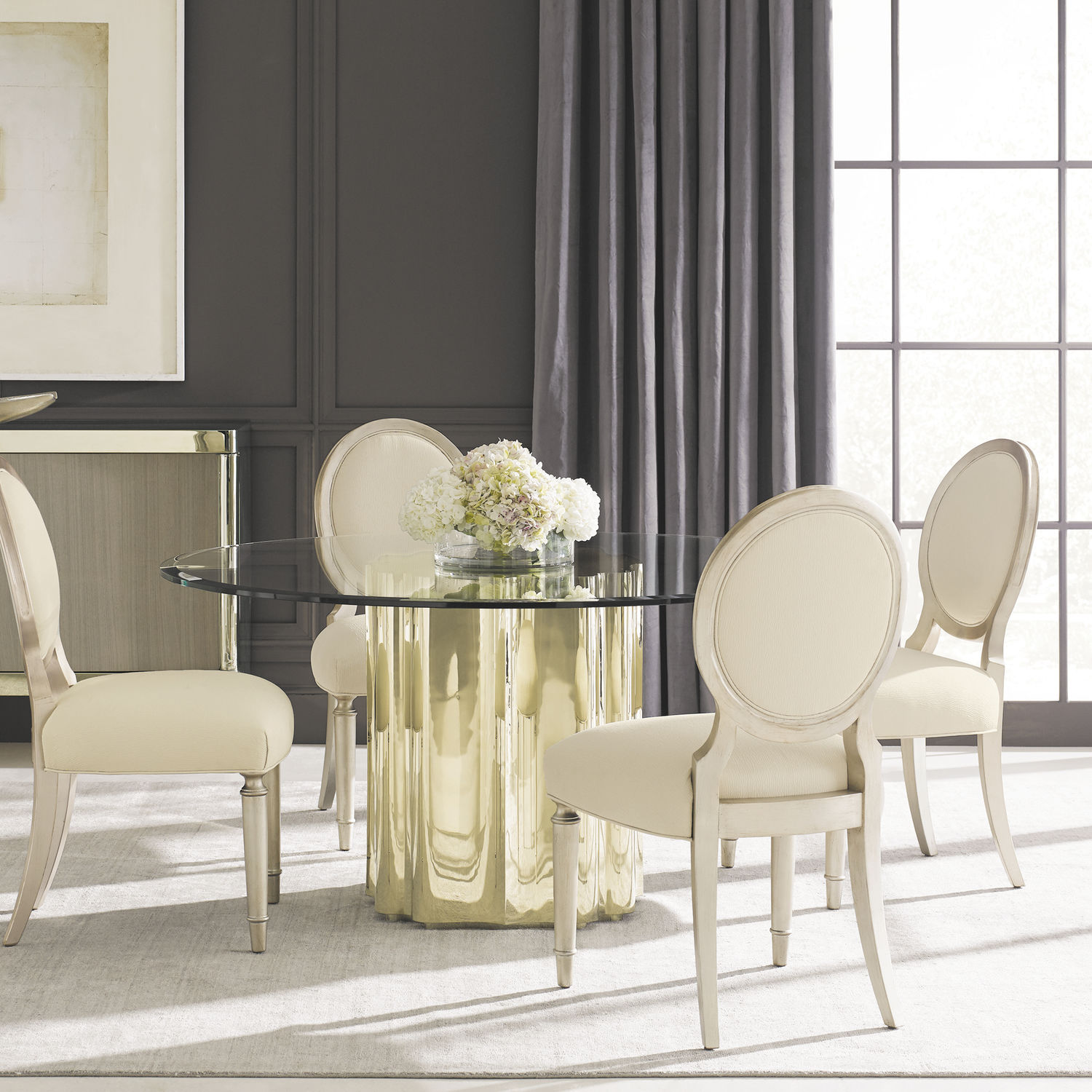 Contemporary Dining Table Tempered Gl Metal Base Round Caracole Clic Strike Gold