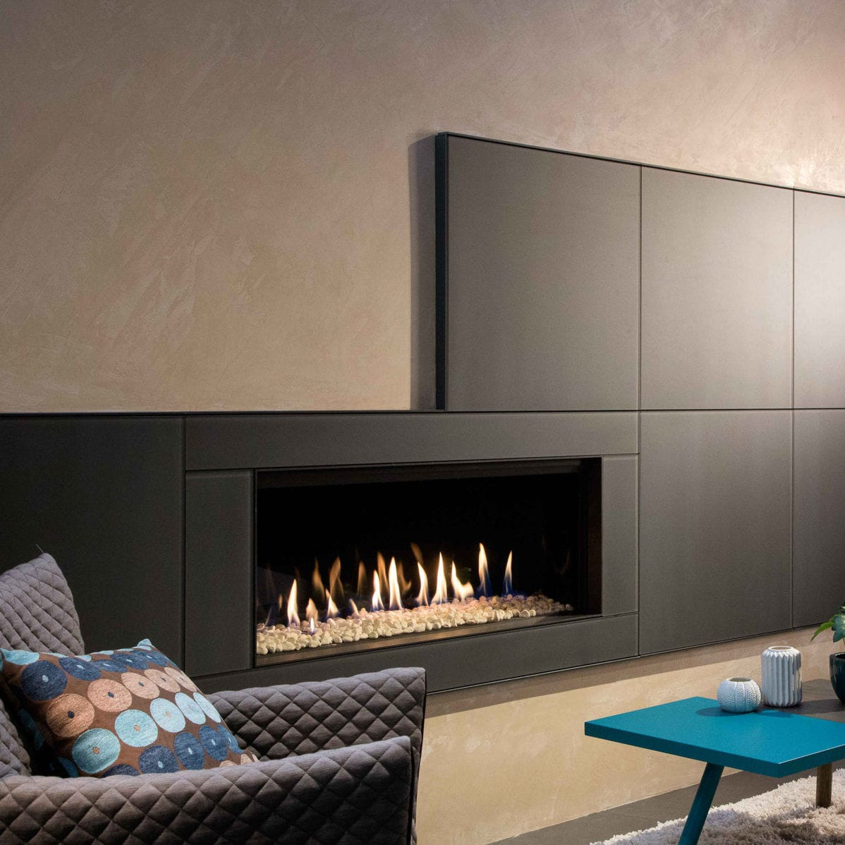 Gas Fireplace Contemporary Closed Hearth Built In Kalfire