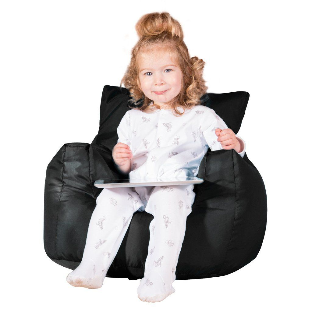 Stupendous Contemporary Bean Bag Canvas Childs Black Machost Co Dining Chair Design Ideas Machostcouk