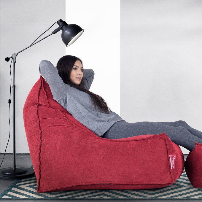 Marvelous Contemporary Bean Bag Fabric Red Lploungbbflkred Uwap Interior Chair Design Uwaporg