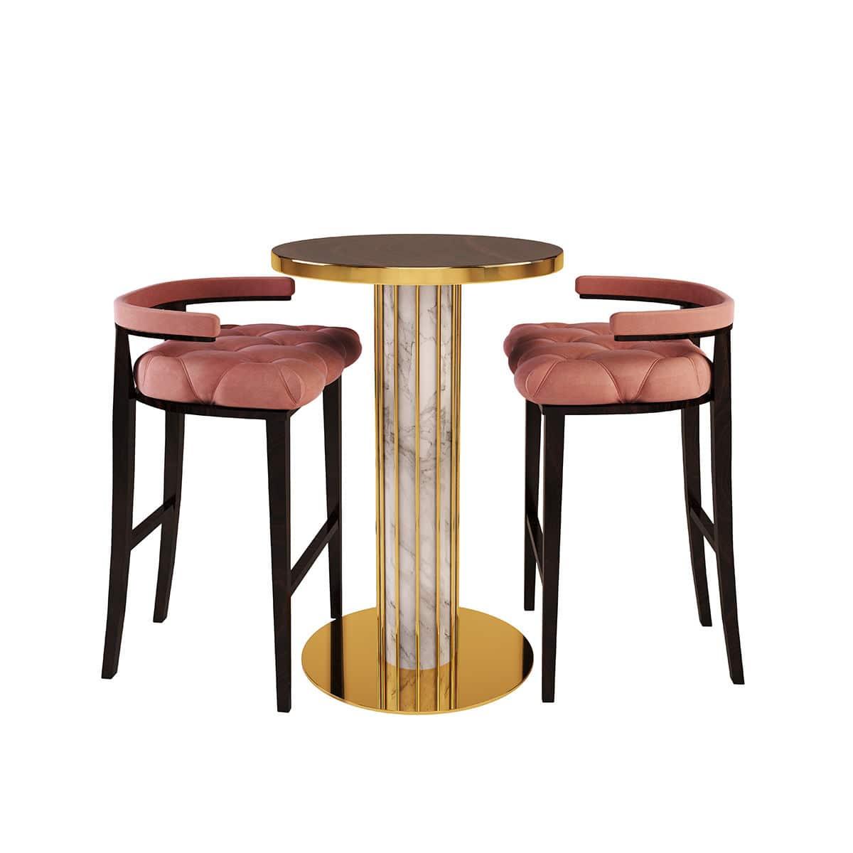 Contemporary high bar table - DANDELION - By Swans - wood veneer