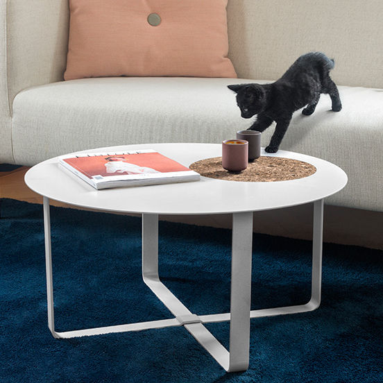 Brilliant Contemporary Coffee Table Metal Round White Octave Gmtry Best Dining Table And Chair Ideas Images Gmtryco