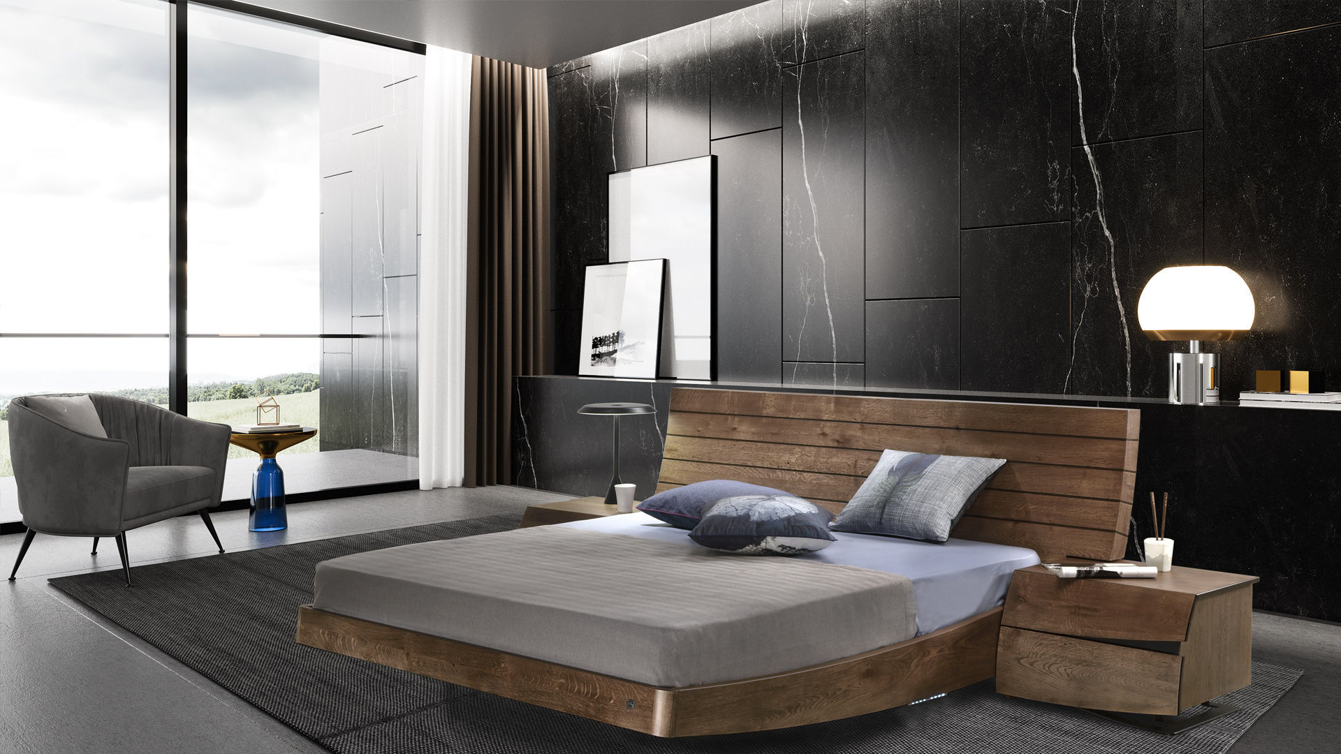 Double Bed Contemporary With Headboard With Integrated
