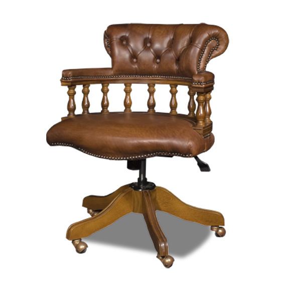 Incredible Chesterfield Office Armchair Leather Oak On Casters Machost Co Dining Chair Design Ideas Machostcouk