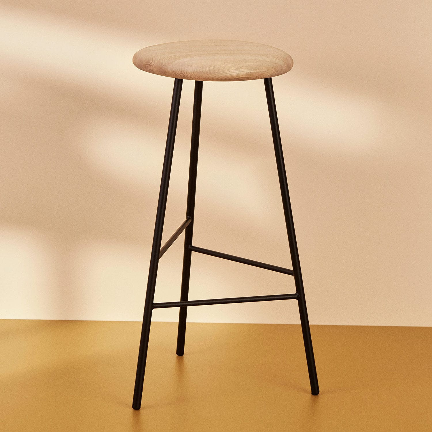 Picture of: Contemporary Bar Stool Pebble Warm Nordic Oak Powder Coated Steel Kitchen