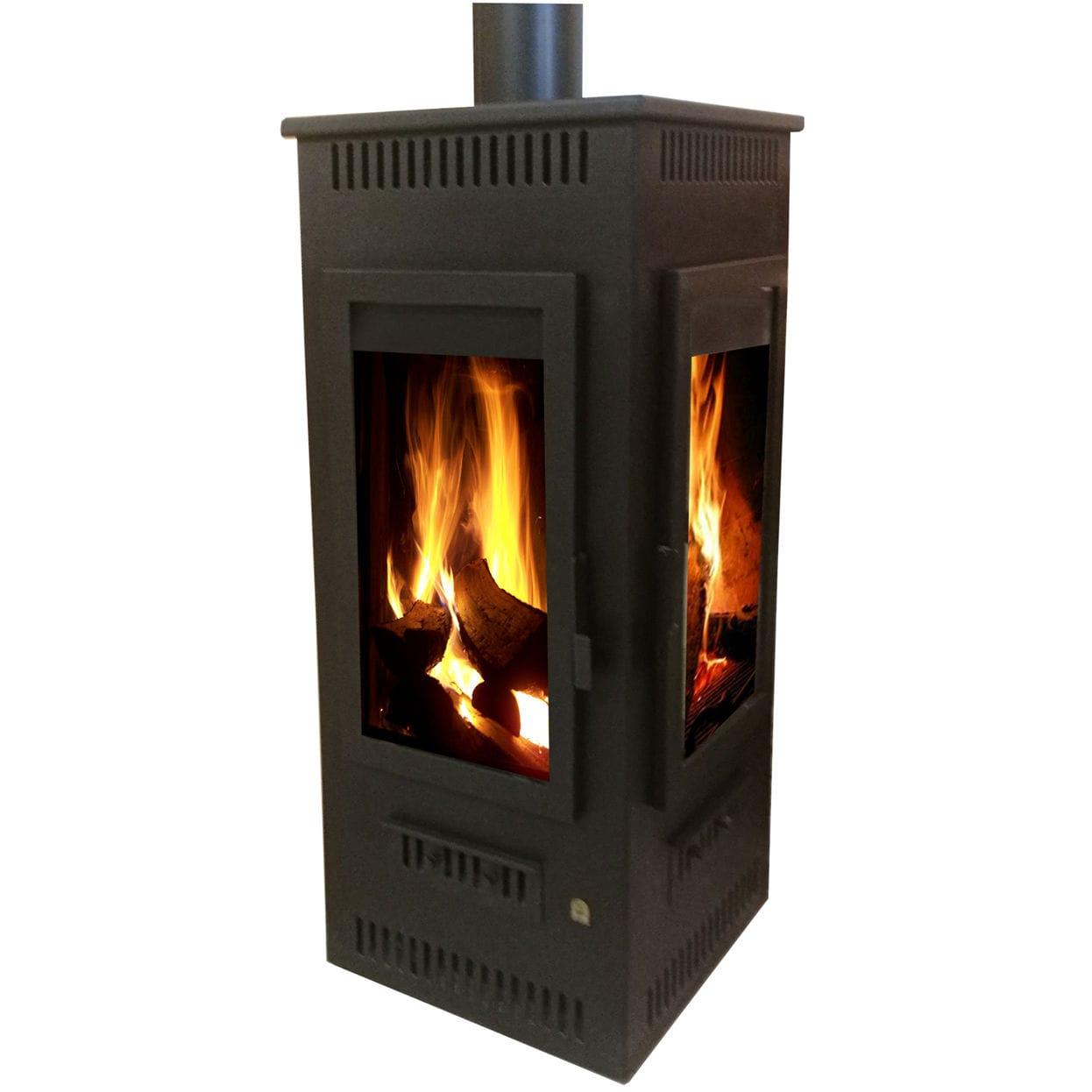 Wood Heating Stove Corner 2 Sided Steel