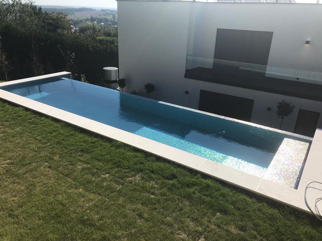 In-ground swimming pool / stone / custom / lap - 12.5 x 3.5 ...
