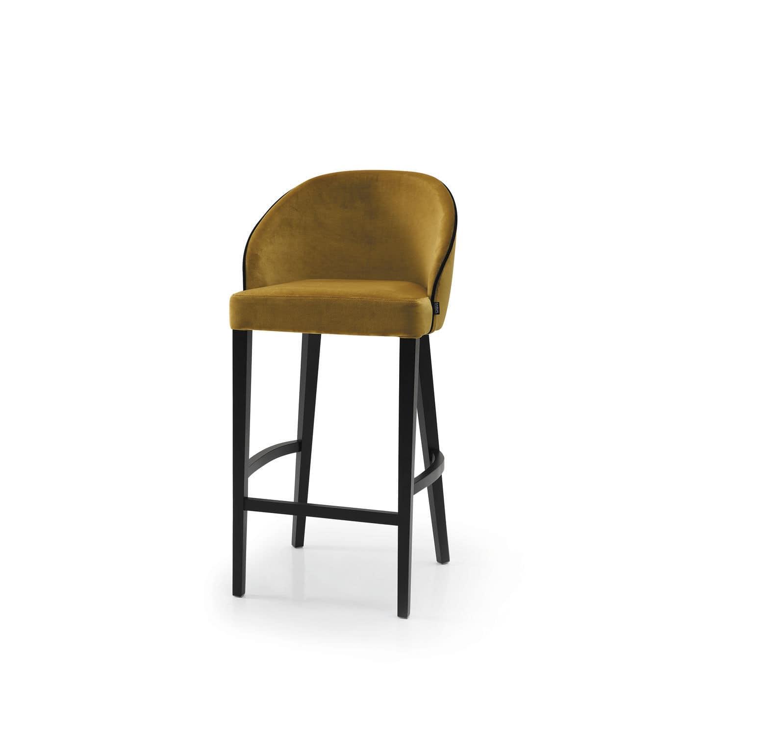 Wondrous Contemporary Bar Stool Fabric Beech Contract Maya Evergreenethics Interior Chair Design Evergreenethicsorg