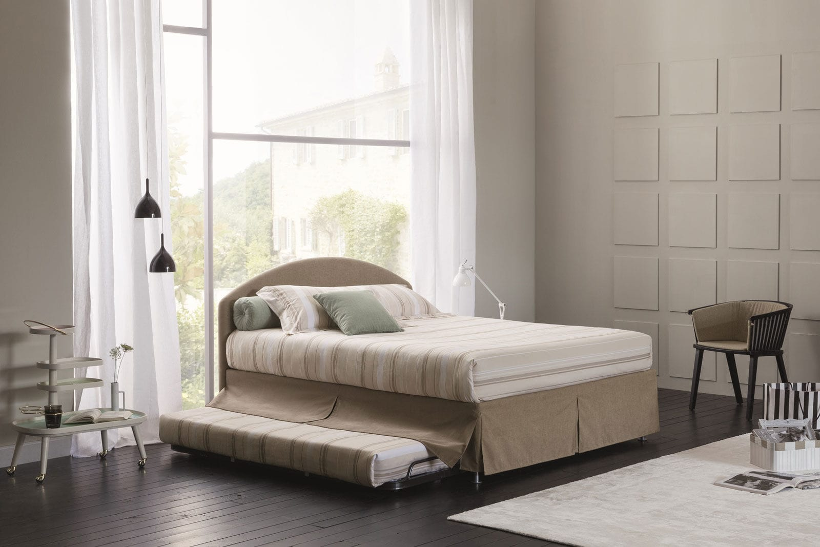Picture of: Pull Out Bed Castle Combi Oggioni Double Contemporary Upholstered