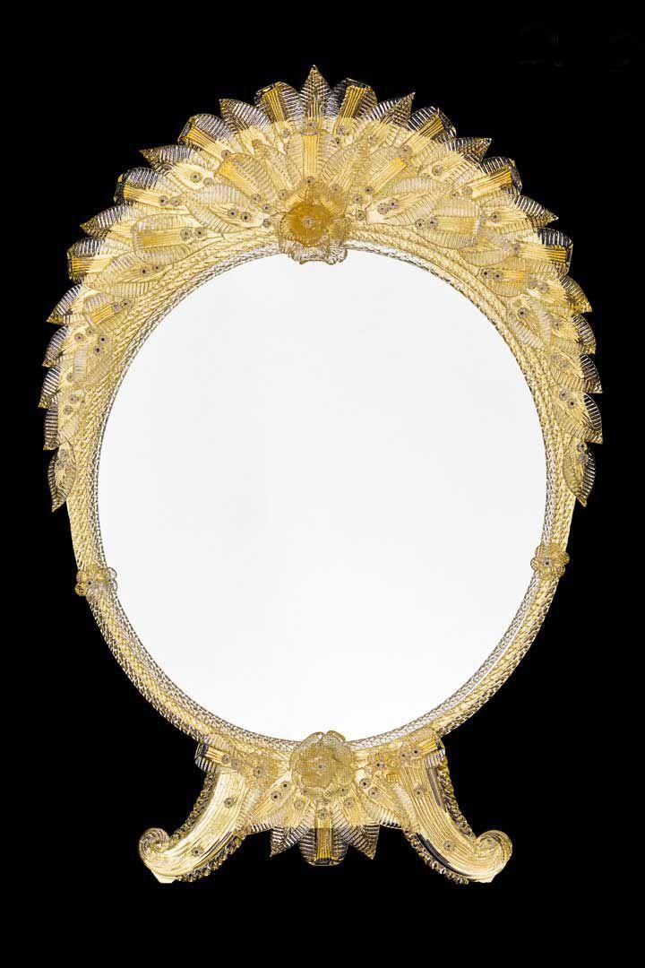 Wall Mounted Mirror Boschi Gold Original Murano Glass S N C Venetian Style Round Murano Glass