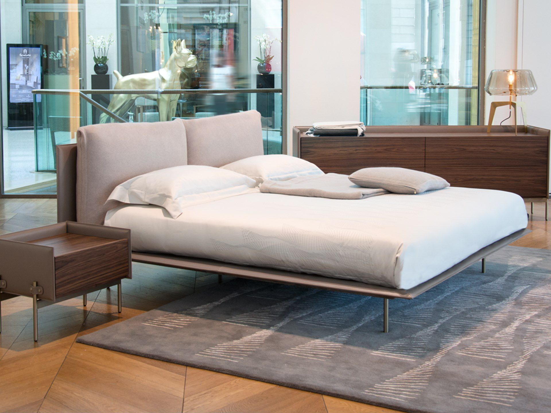 Double Bed V251 Aston Martin Contemporary Upholstered With Upholstered Headboard