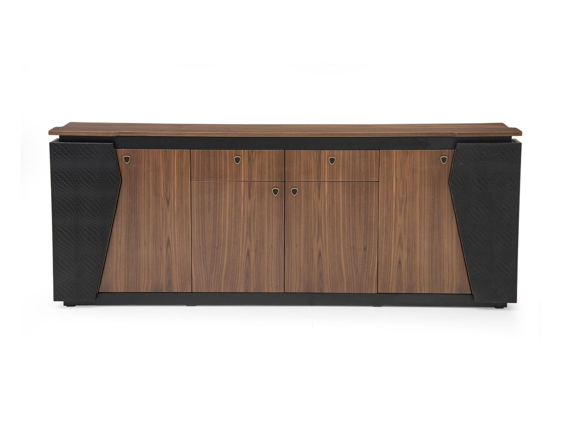 Contemporary Sideboard Gt 19 Tonino Lamborghini Wood Veneer Leather For Office