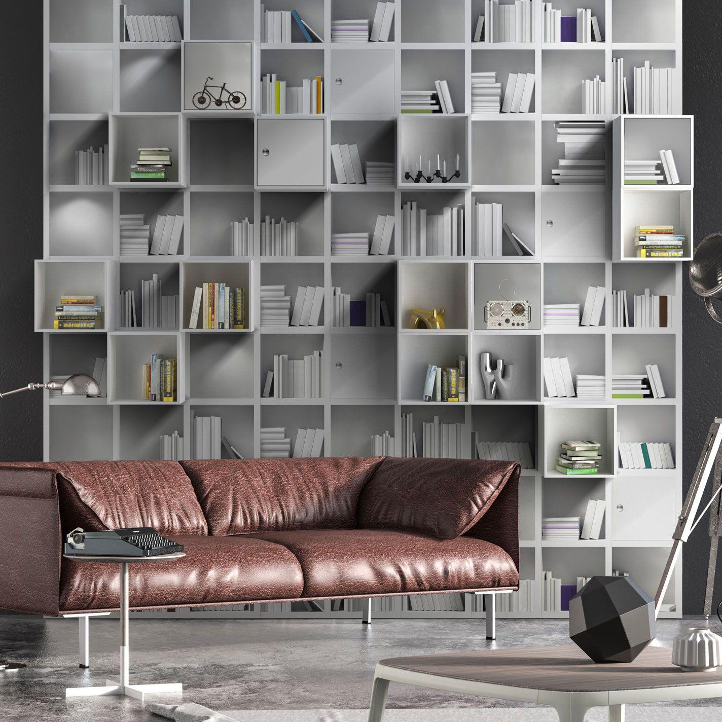 Unique Wallpaper Bookshelf 3d Effect Printed Book