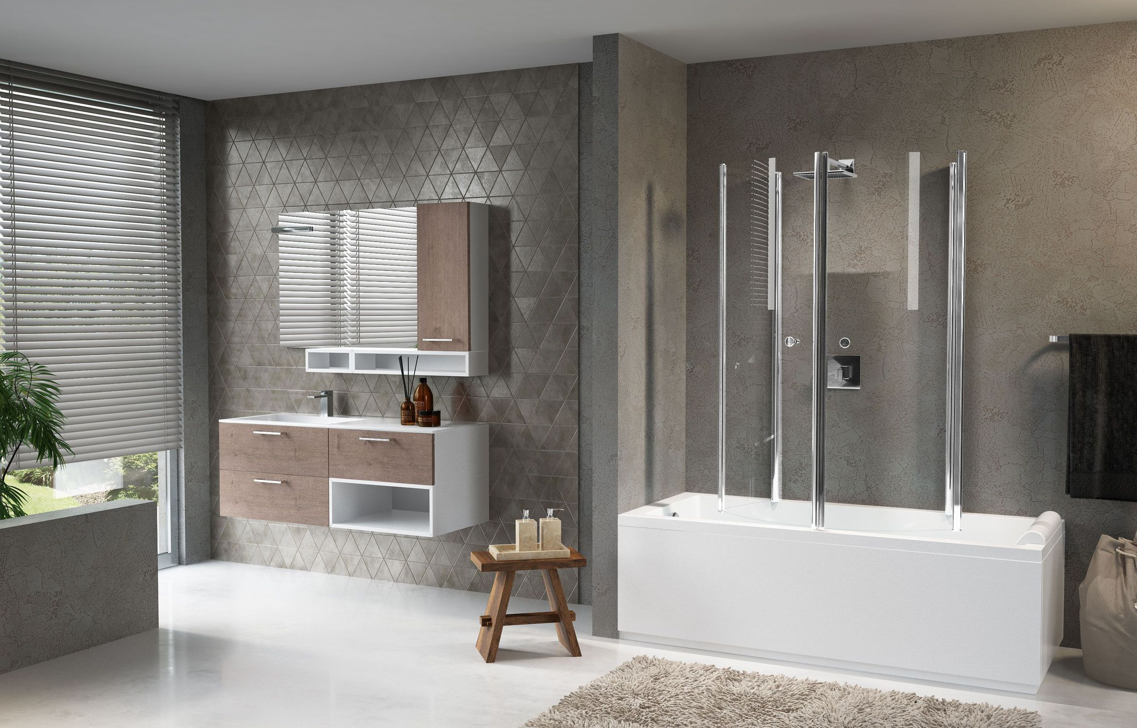 Aurora 4 Novellini.Folding Bath Screen Tempered Glass Aurora 4 Novellini