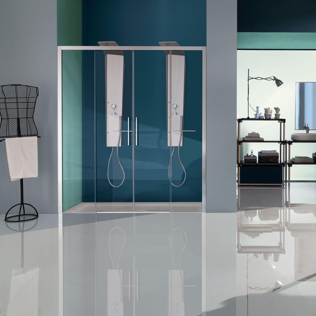 Box Doccia Samo.Sliding Shower Screen For Alcoves Glass Europa Sp