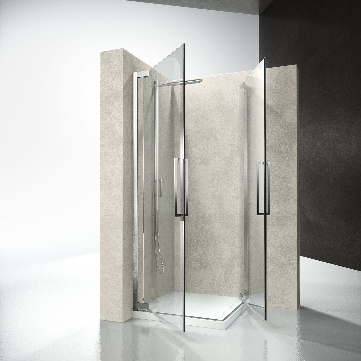 Glass Shower Cubicle Corner With Hinged Door Flare