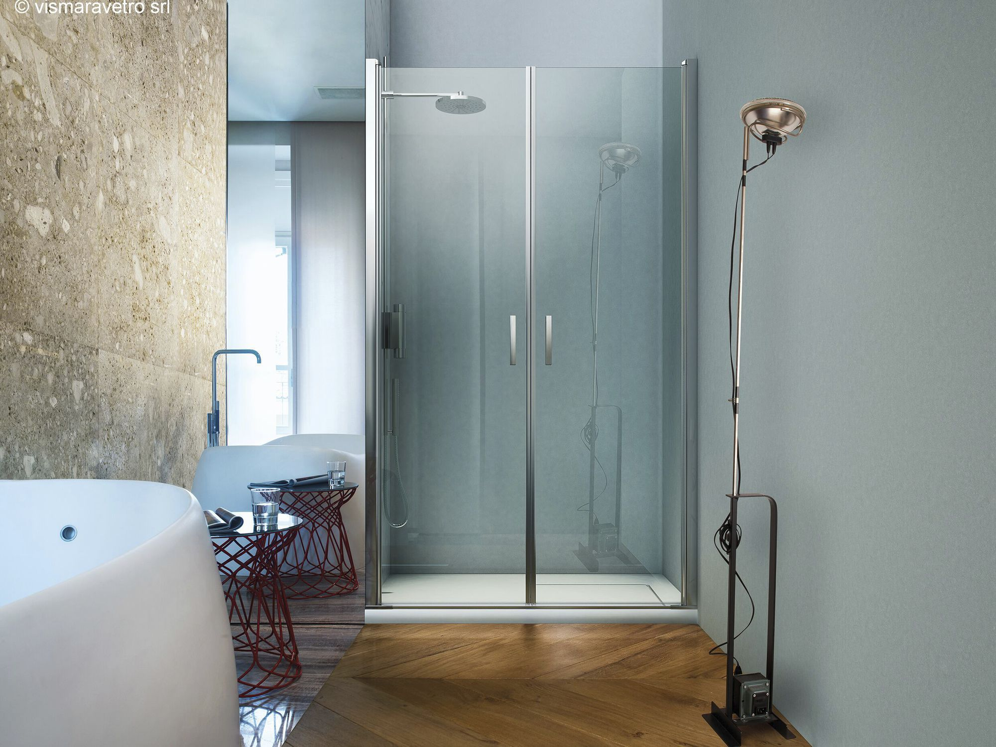 Glass Shower Cubicle For Alcoves With Hinged Door