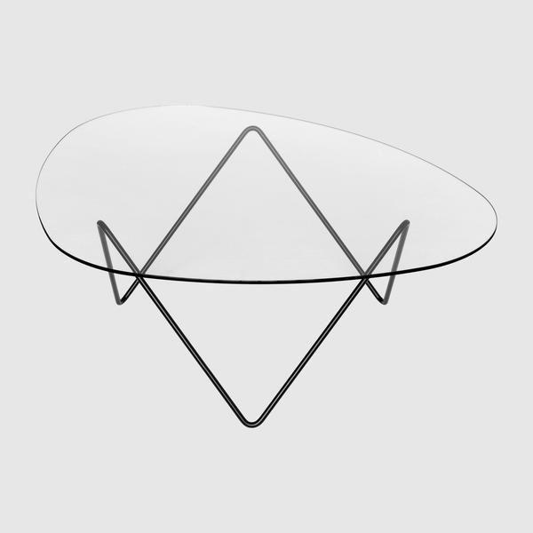 Contemporary Coffee Table Glass Steel Triangular Pedrera