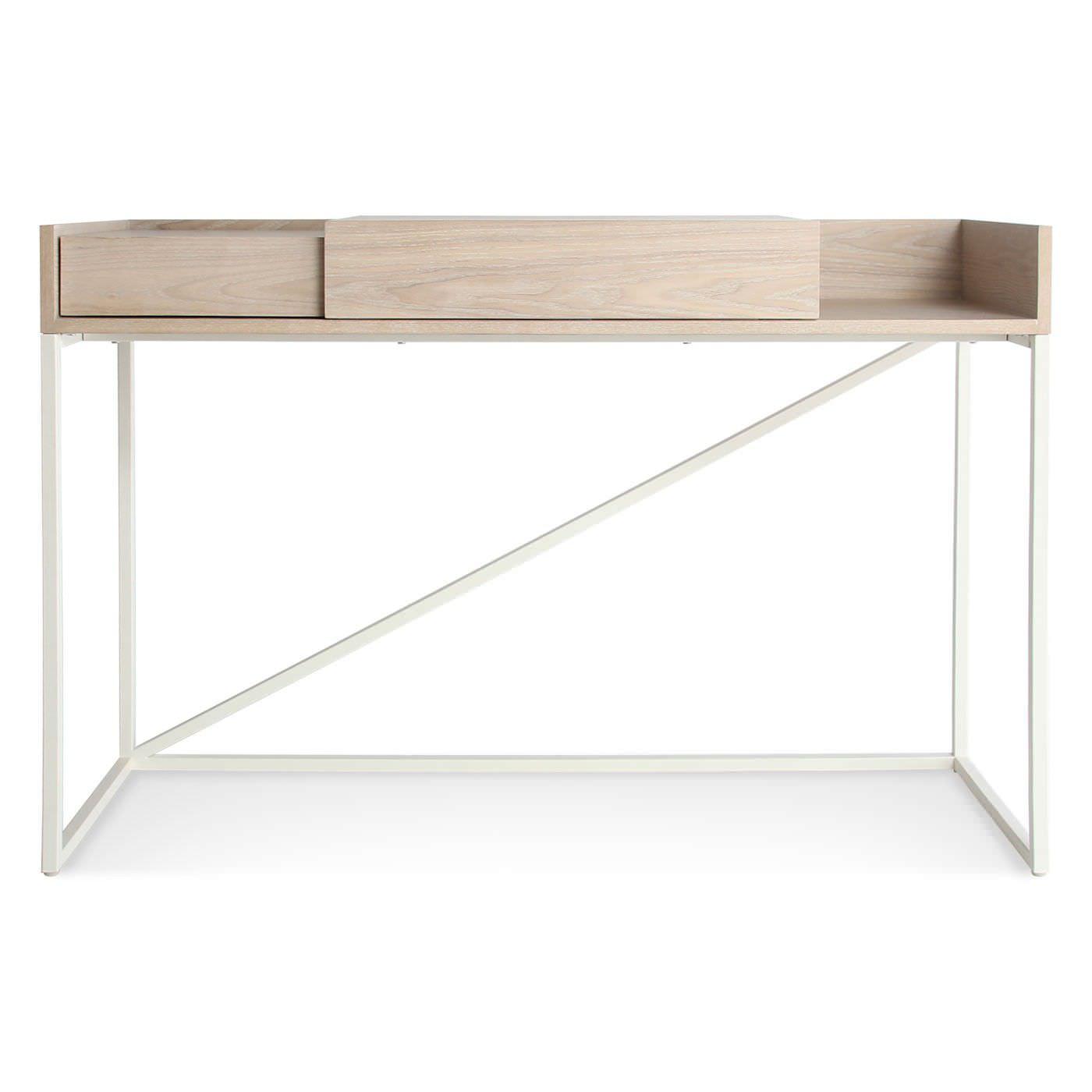 Walnut Desk Ash Powder Coated Steel Contemporary