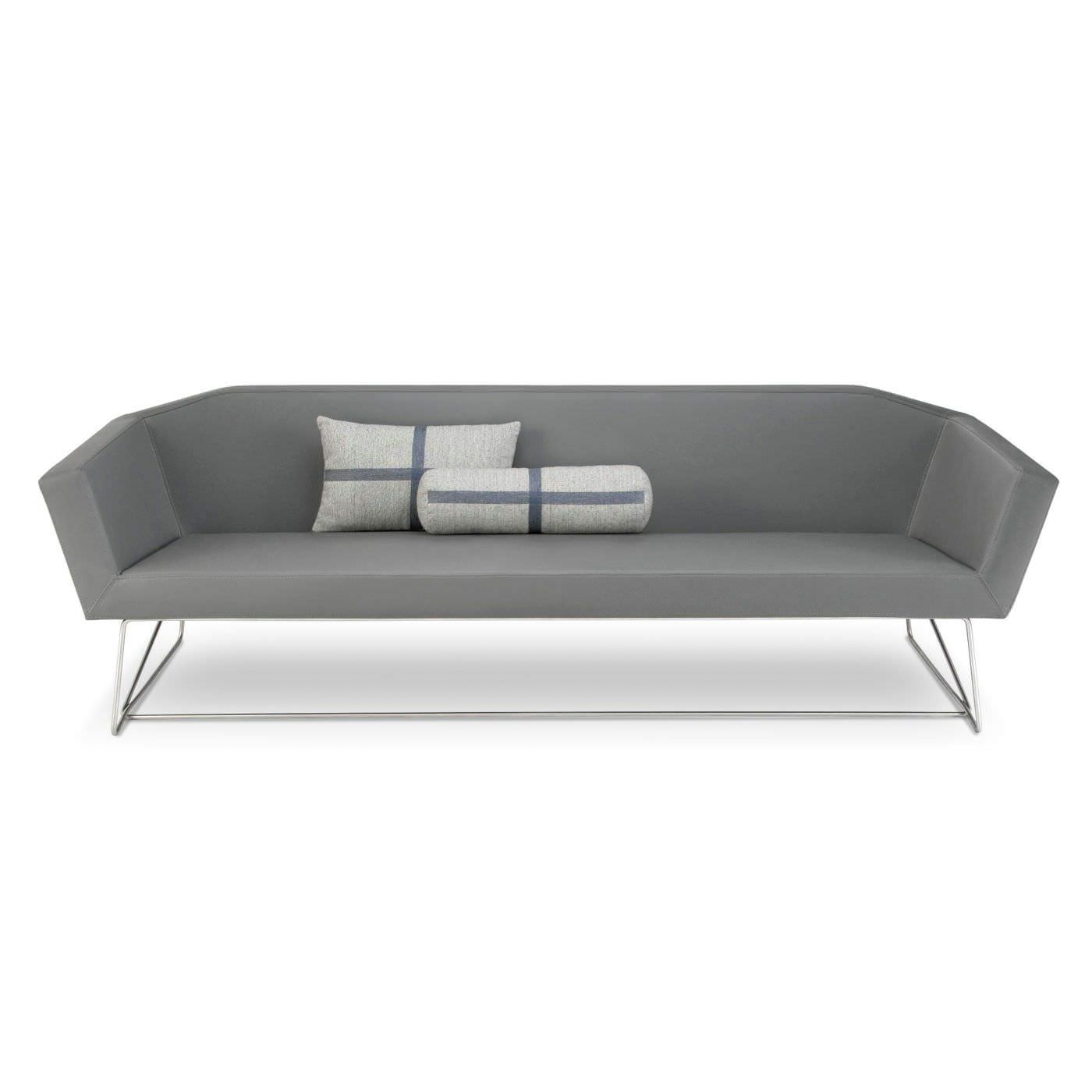 Contemporary Sofa Leather Stainless Steel White