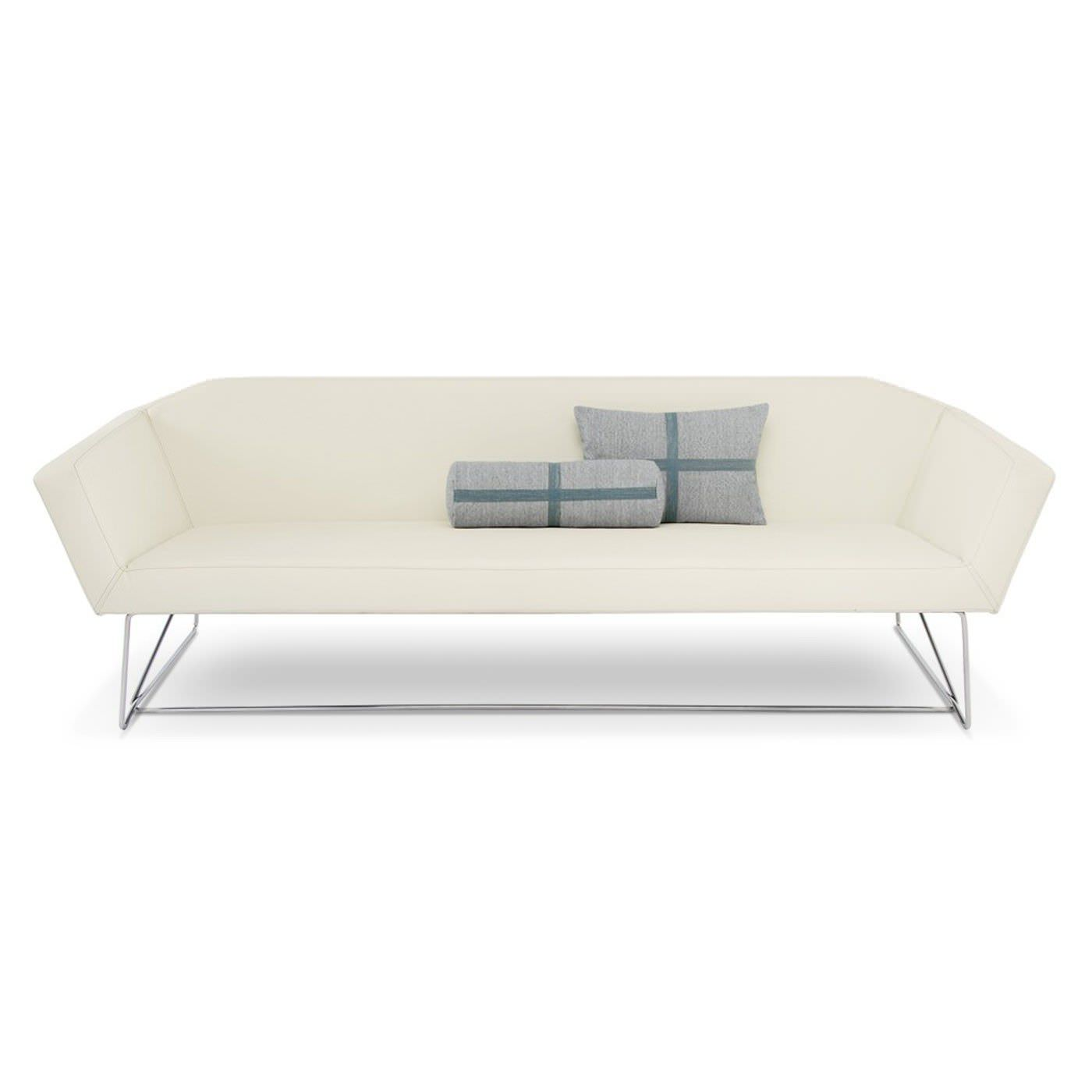 contemporary sofa / leather / stainless steel / white
