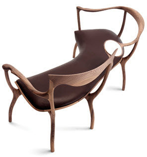 Roberto Lazzeroni Design.Organic Design Bench Walnut With Backrest D R D P By