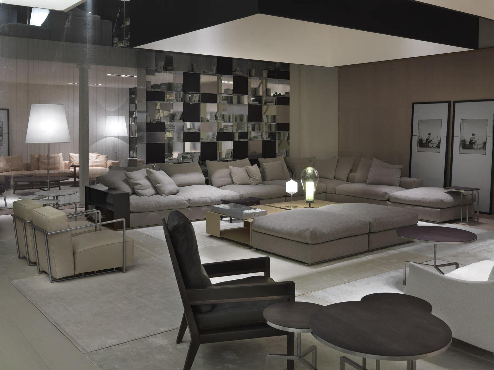 Modular sofa contemporary leather fabric GROUNDPIECE