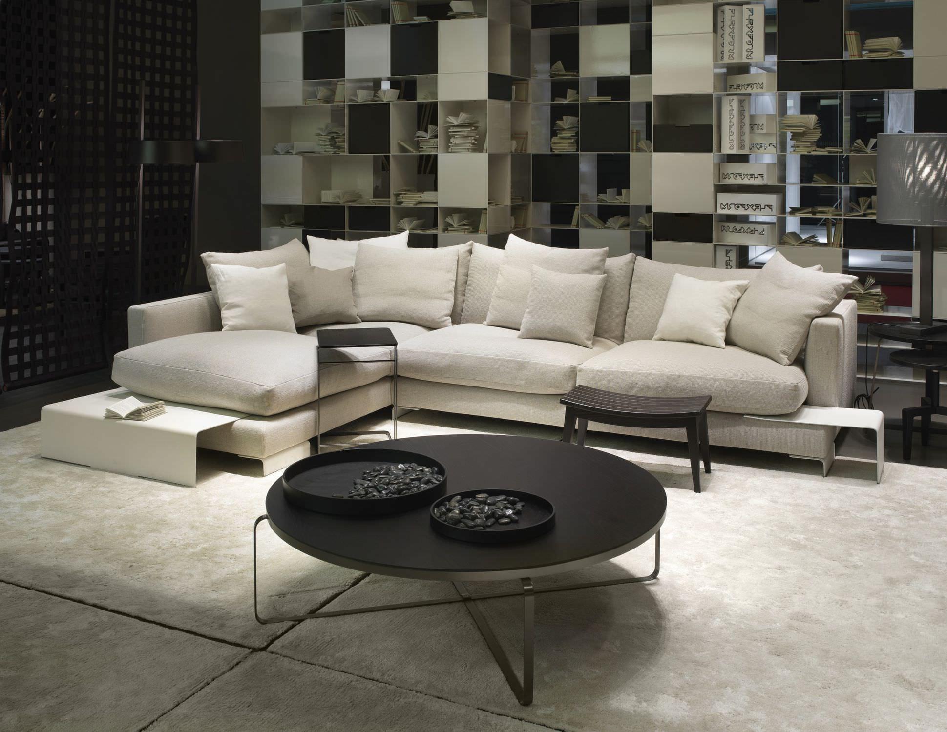 Modular sofa contemporary leather metal LONG ISLAND