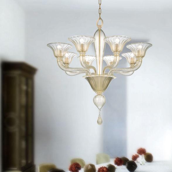 Traditional Chandelier Blown Glass Murano Glass Metal