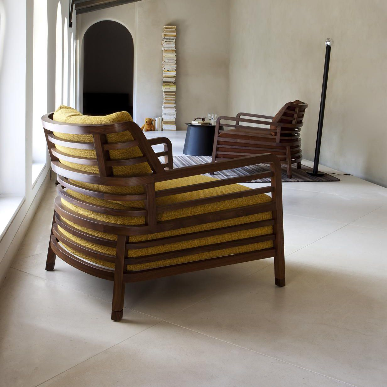 Contemporary Armchair Fabric Leather Walnut Flax Ligne Roset