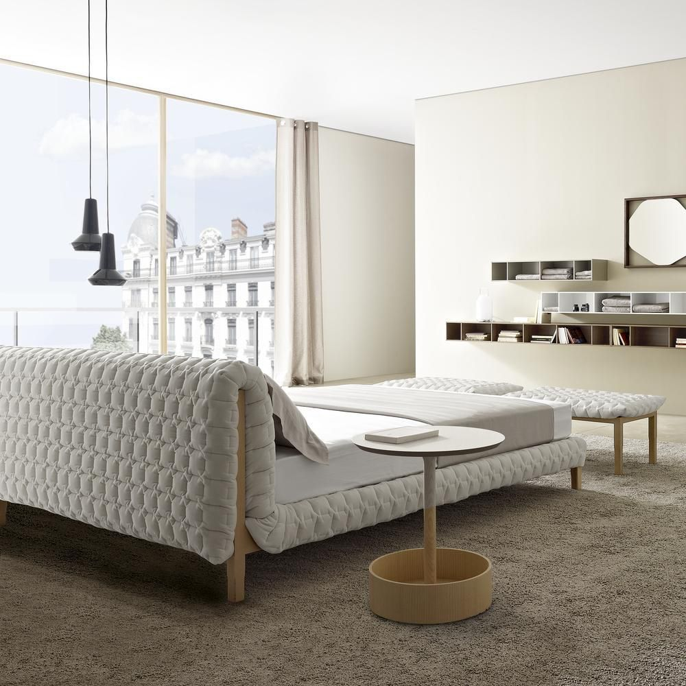 Double Bed Ruche Ligne Roset Contemporary Upholstered With Headboard