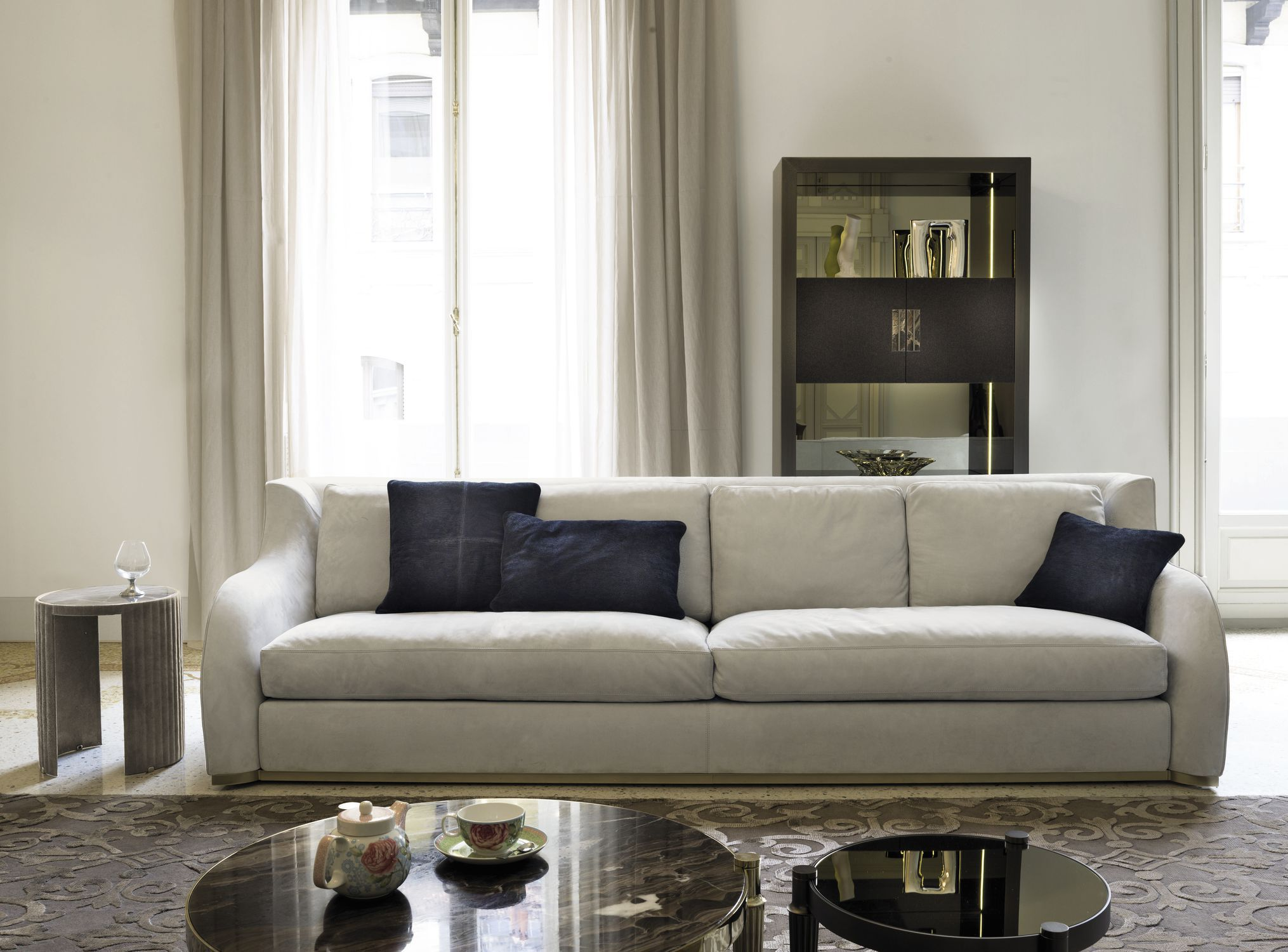 Contemporary sofa leather fabric 4 seater REY W 548 by