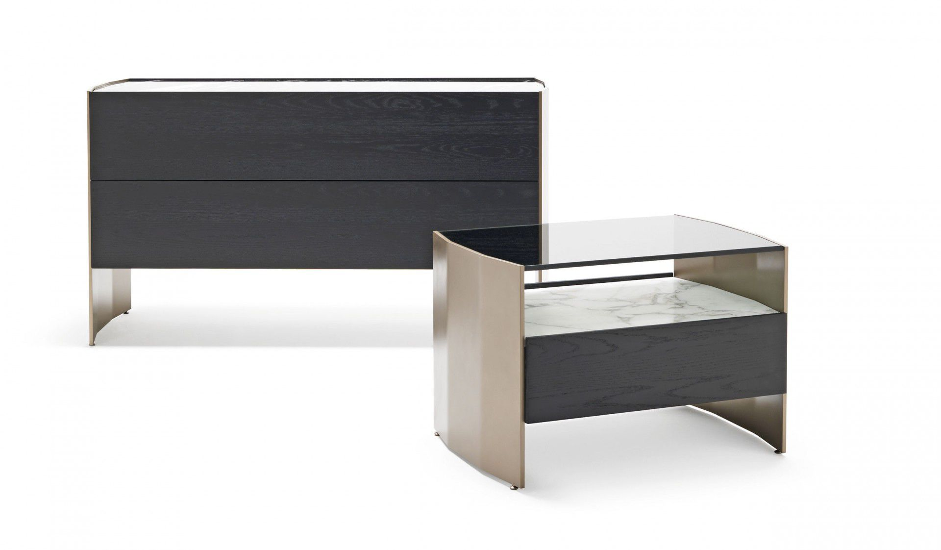 Contemporary Bedside Table Wooden Metal Glass