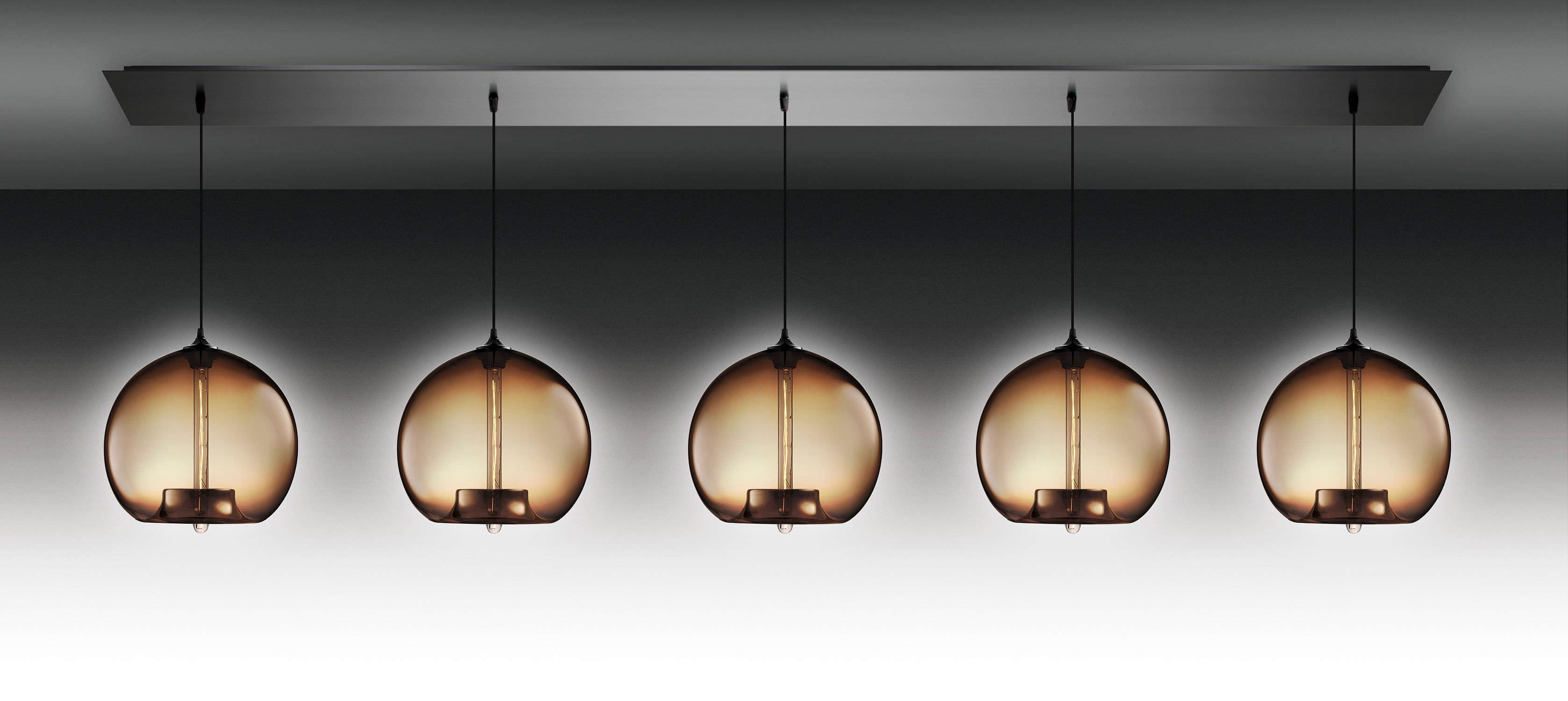 Contemporary ceiling light linear glass blown glass LINEAR